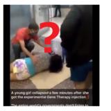 「実験的な遺伝子治療の注射を受けた女性が数分後に倒れた」動画について